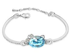 Ninabox ® Cool Breeze Sets [CBSs]. 18k White Gold Plated Alloy Bangle Bracelet with Blue Good Cut Swarovski Elements Crystal. Hello Kitty Cat Bracelet. BIG2540WB