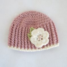 Crocheted Baby Girl Ribbed Flower Hat Dusty Rose with by R0SEDEW