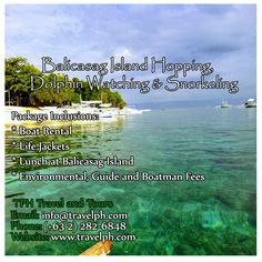 BALICASAG ISLAND HOPPING, DOLPHIN WATCHING & SNORKELING TOUR  For more inquiries please call: Landline: (+63 2)282-6848 Mobile: (+63) 918-238-9506 or Email us: info@travelph.com #Bohol #Philippines #TravelPH #TravelWithNoWorries Bohol Philippines, Boat Rental, Travel Companies, Travel Tours, Travel Agency, Manila, Snorkeling, Dolphins, Environment