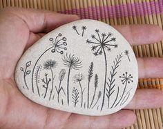 Painted Stones - Pebbles with Nature Designs, white black, floral motifs, flowers, plants, garden, original home decor, meditation stones