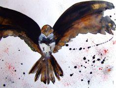 Oiseau peinture oiseau art oiseau dessin art contemporain oiseau décor animal : Peintures par celine-artpassion