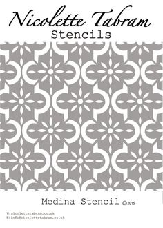 Inspired by decorative tiles this versatile repeating stencil can be used on furniture, fabric and walls.  Dimensions: Stencil 22x28cms Design 17.5x24.5cms  Re-usable and simple to use, stencils can be painted in one colour or as a multi coloured design. Instructions are provided  Stencil is cut from 190 micron Mylar.