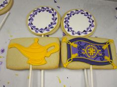 The Magic Lamp and Magic Carpet (and two cookies that eventually had messages in them), sugar cookies hand decorated with royal icing Aladdin And Jasmine, Princess Jasmine, Aladdin Party, Royal Icing Decorations, Disney Princess Party, 4th Birthday, Cookie Decorating, Birthdays, Party Ideas