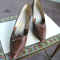 Vintage Brown Spectator Shoes Pointy Toe size 9  Eur 40 by GoodEye, $39.00