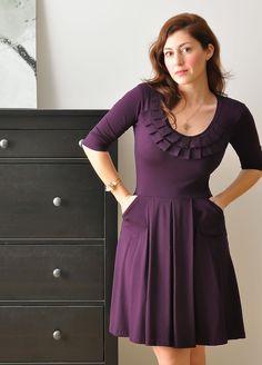 Fall Dress / Winter Dress With 3/4 Sleeves In Purple .Custom Dress .Pleated Neckline Cocktail Dress In Juicy Plum. Jersey Dress. $145.00, via Etsy.