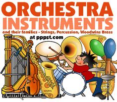 Instruments of the Orchestra and their Families - FREE Presentations in PowerPoint format, Free Interactives and Games Kindergarten Music, Preschool Music, Music Activities, Teaching Music, Music Games, Movement Activities, Music Lesson Plans, Music Lessons, Guitar Lessons