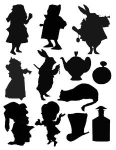 silhouette alice in wonderland | ALICE IN WONDERLAND SILHOUETTES DIGITAL COLLAGE SHEET review | buy ...