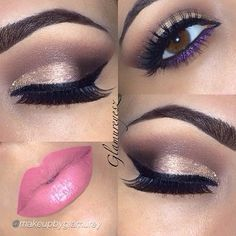 Brown and Gold Cut Crease with a Pop of Purple and Pink Lips