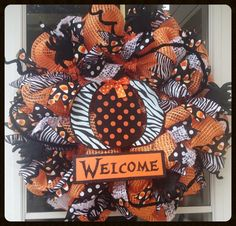 Orange and Black Zebra Print Halloween Wreath  by StephsDoorDecor #halloweendecor #fallwreath