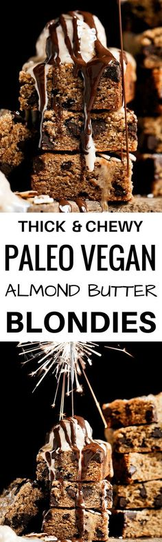 The best soft and chewy paleo blondies! Gluten free, low in sugar (1/4 c in the whole batch!), and vegan as well. Can be made ahead, stored in the freezer.