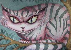 "[Dominic Murphy Art] ""Alice in Wonderland"" lettuce cat (watercolor, handwriting) Alice And Wonderland Tattoos, Alice In Wonderland Room, Adventures In Wonderland, Lewis Carroll, Cheshire Cat Art, Creepy Cat, Dark Disney, Watercolor Cat, Dark Photography"
