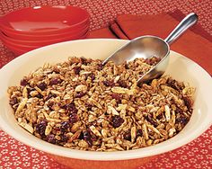 This is a great Granola recipe from Penzeys Spices.  I halved the sugars and it was the perfect sweetness.