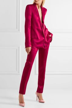 Magenta satin Concealed hook fastening at front acetate, rayon Dry clean ImportedAs seen in The EDIT magazine Blazers For Women, Jumpsuits For Women, Pants For Women, Clothes For Women, Magenta, Satin Trousers, Pink Suit, Vogue, Inspiration Mode