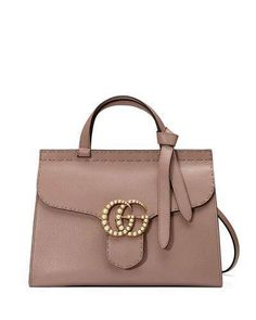 Gucci GG Marmont Small Pearly Top-Handle Satchel Bag, Nude
