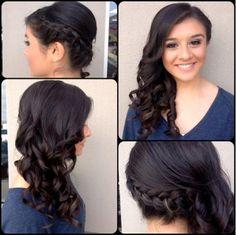 one-side braid with curled hair Fancy Hairstyles, Wedding Hairstyles, Side Hairstyles, Wedding Hair And Makeup, Hair Makeup, Makeup Kit, Makeup Geek, Eyeshadow Makeup, Eyeshadow Palette