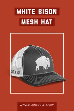 An outdoor essential on hot days: a breathable Bison Mesh Cap that'll have you looking good and feeling even better. Original American Flag, Black American Flag, American Pride, White Bison, Marine Coolers, Tailgating Ideas, Mesh Cap, Diy Camping, Hunting Gear