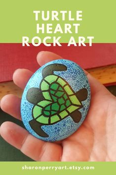 Your place to buy and sell all things handmade - Excited to share the latest addition to my shop: Turtle Heart Rock Art, Painted Stone etsy. Turtle Painting, Pebble Painting, Pebble Art, Stone Painting, Rock Painting Patterns, Rock Painting Ideas Easy, Rock Painting Designs, Stone Crafts, Rock Crafts