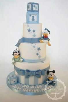 Laura Jane Cake Design added 51 new photos to the album: Christening and Baby Shower Cakes. Baby Mickey Cake, Mickey Cakes, Mickey Mouse Cake, Baby Boy Cakes, Baby Shower Cakes, Christening Cake Boy, Mickey Mouse Baby Shower, Fondant Baby, First Birthday Cakes