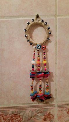Nazarlıklarım Crafts To Do, Bead Crafts, Diy Crafts, Diy Bottle, Bottle Crafts, Boho Diy, Boho Decor, Diy Bird Cage, Make Do And Mend