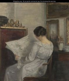 Woman Reading The Newspaper - Carl Vilhelm Holsoe (19th century Danish Painter)
