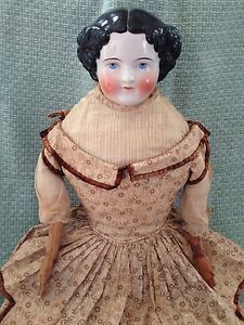 "Antique-Exquisite-Civil-War-28-Large-German-China-Head-Lady-Original-Body. Stunning antique dress. Doll 28""."