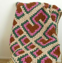 crocheted afghan quilt in country colors