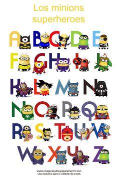 abecedario de los minions superheroes para imprimir