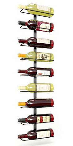 Wine Racks - Pampered Grape 9 Bottle Iron Wall Mount Wine Rack Black -- Want to know more, click on the image.