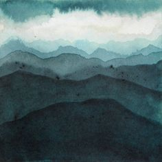 Landscape of mountains and skies ink 07 - Painting, cm © 2013 by . Watercolor Painting Techniques, Painting & Drawing, Watercolor Paintings, Watercolours, Japanese Watercolor, Art Original, Contemporary Paintings, Oeuvre D'art, Abstract Landscape