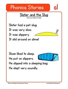 Using this Slater and the Slug SL Phonics Reading Comprehension Worksheet, students build their reading comprehension and phonics skills while reading words featuring SL. Kindergarten Reading Activities, Phonics Reading, Teaching Reading, Learning, Reading Words, Reading Passages, Reading Skills, Reading Comprehension Worksheets, Phonics Worksheets