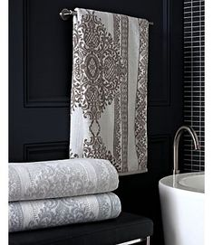 Luxury Bath Towels - Bedminster Damask Stripe by Trump - CassaDecor | CassaDecor