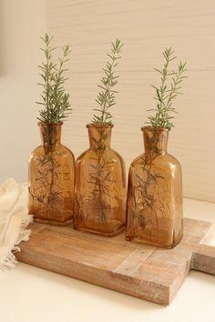 "Amber Embossed Glass Vase Dimensions: 3-1/2""L x 3""W x 5-1/2""H Sold individually. Vintage Room, Look Vintage, Vintage Style Decor, Rustic Style, Glass Flower Vases, Glass Vase, Amber Glass Bottles, Room Ideas Bedroom, Bedroom Decor"