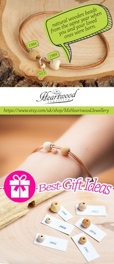 "Personalized Leather Bracelets by Ms Heartwood Jewellery  Get the COUPON for 25% DISCOUNT http://eepurl.com/b1QZx5  Our hand-made jewellery are the ""Symbol of Life"" Our Bracelets, Rings, Earrings and Necklaces are made of really soft leather, sterling silver, and a pure, natural wooden beads from the same year when you or your loved ones were born.   #bestgiftidea #giftidea #woodenbracelet #bracelet #jewel #jewelry #jewellery #birthday #forher   Photos by: http://www.silverlightstudio.co.uk/"