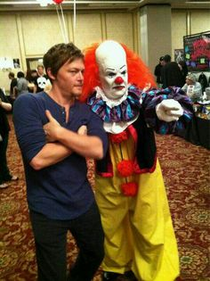 Norman Reedus and a scary as hell clown!