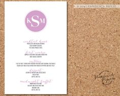 Wedding menu card - Round Monogram Style - Customized with your information -  Printable, Custom Color  $17.00 |  www.parkbenchpaperie.etsy.com