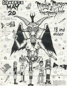 Early Marilyn Manson (and the Spooky Kids) concert flyer. 1992.