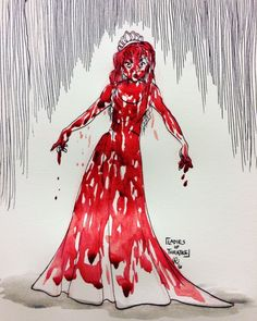 """""""I am the sound of distant thunder, a color, a flame! I'm CARRIE! Carrie Movie 1976, Carrie The Musical, Horror Icons, Horror Films, Horror Art, Chucky Horror Movie, Carrie White, Fanart, Scary Movies"""