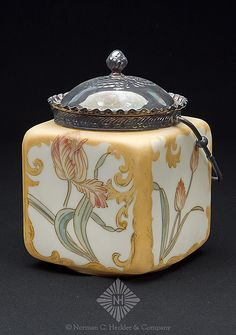 Mount Washignton Glass Co., Crown Milano with Multi-Color Tulip Design Decoration, Square with Metal Collar, Lid and handle, Circa 1891-1895