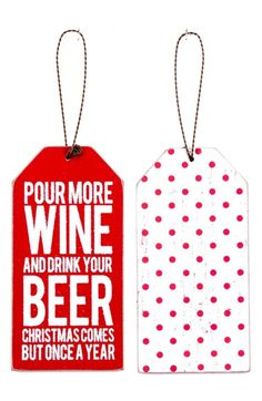 Free shipping and returns on PRIMITIVES BY KATHY 'Pour More Wine' Bottle Gift Tag at Nordstrom.com. A simple gift tag for a special bottle is sure to spread the holiday spirit.