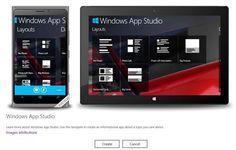 Microsoft lanzó Windows App Studio en versión de pruebas para alentar a los desarrolladores principiantes a crear aplicaciones sin la utilización de código tanto para Windows como para o Windows Phone.