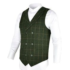 BOTVELA Mens 100% Wool Suit Vest Herringbone Tweed Vintage Check Waistcoat With Lapel,Double Breasted (Army Green, M)