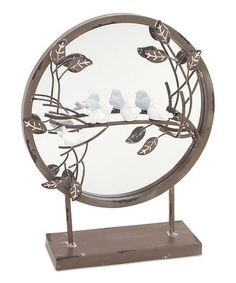 Another great find on #zulily! Birds & Leaves Round Mirrored Tabletop Décor #zulilyfinds