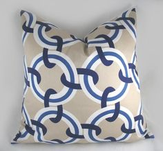 FISH ROOM Decorative Pillow Cushion Cover - Accent Pillow - Throw Pillow - Duralee - Theo Marine - Blue, Khaki, Navy - Circle - 20 x 20 inch. $40.00, via Etsy.