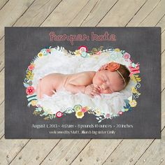 Custom Photo Birth Announcement  Floral Frame by ThePinkCoconut, $14.50