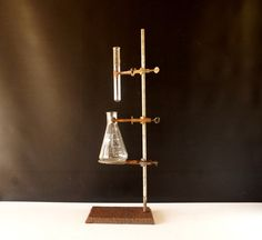 Vintage / Antique Industrial Cast Iron Lab Stand with Ring, Clamps, Flask, and Test Tube by ThirdShift - Mad Science fun! Makes a great Halloween display piece, or beverage holder.  #vintage #halloween #madscience #thirdshift3 #thirdshiftvintage