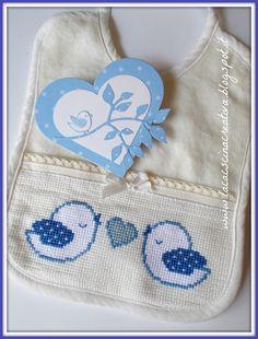 la cascina creativa: Uccellini e cuori Cross Stitch Baby, Cross Stitch Patterns, Baby Bibs, Diy And Crafts, Clip Art, Embroidery, Hello Kitty, Hand Embroidery Patterns, Counted Cross Stitches