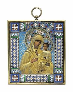A PEARL-SET & CLOISONNÉ ENAMEL SILVER-GILT ICON OF IVERSKAIA MOTHER OF GOD - MARKED P. OVCHINNIKOV WITH THE IMPERIAL WARRANT, OVERSTRIKING INDISTINCT MAKER'S MARK, MOSCOW, CIRCA 1890 - Realistically painted, the Christ child with his right hand raised in benediction, the Mother of God behind him, the garments repoussé &  chased, the halos & oklad cloisonné enamelled in shades of blue, red, green & white & turquoise, with rope-work scrolls, flanked by a cross at each corner, with suspension…