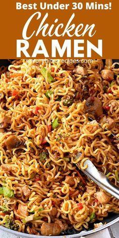 Chicken Ramen Recipe, Chicken Stir Fry With Noodles, Skillet Chicken, Chicken Recipes, Ramen Noodles, Ramen Noodle Recipes, Stir Fry Recipes, Cooking Recipes, Fast Recipes