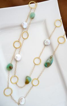 Peruvian Opal Coin Pearl Vermeil Rings Long by luxurybyvera, $179.00