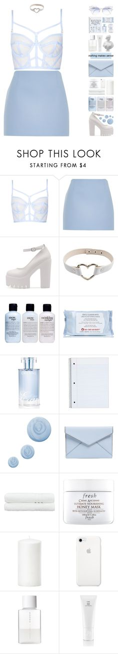 """[ BLUE ]"" by pastelmalfoy ❤ liked on Polyvore featuring Topshop, River Island, Moo Piyasombatkul, philosophy, First Aid Beauty, Orlane, Rebecca Minkoff, Linum Home Textiles, Fresh and SUQQU"